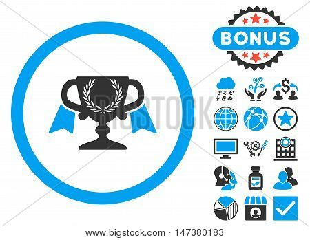 Award Cup icon with bonus elements. Vector illustration style is flat iconic bicolor symbols, blue and gray colors, white background.