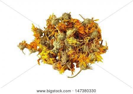 Dried calendula flowers isolated on white background. It is used for the preparation of useful herbal tea and medicinal infusions in the herbal medicine