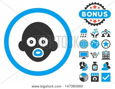 Baby Head icon with bonus images. Vector illustration style is flat iconic bicolor symbols, blue and gray colors, white background.