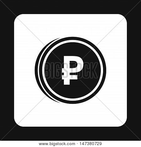 Coin ruble icon in simple style isolated on white background. Monetary currency symbol vector illustration