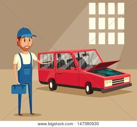 Car repair. Car service. Vector cartoon illustration. Mechanic repairs car in the garage.
