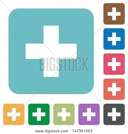 Flat insert icons on rounded square color backgrounds.
