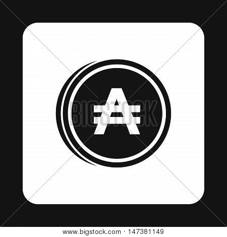 Coin austral icon in simple style isolated on white background. Monetary currency symbol vector illustration