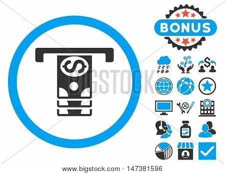 Banknotes Withdraw icon with bonus pictures. Vector illustration style is flat iconic bicolor symbols, blue and gray colors, white background.