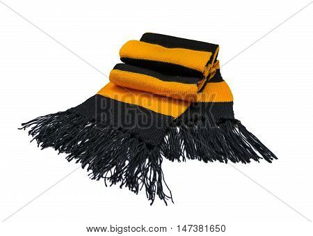 Knitted striped wool scarf black and yellow yarn
