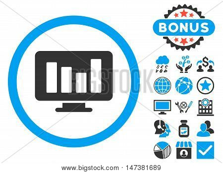 Bar Chart Monitoring icon with bonus symbols. Vector illustration style is flat iconic bicolor symbols, blue and gray colors, white background.