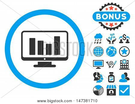 Bar Chart Monitoring icon with bonus design elements. Vector illustration style is flat iconic bicolor symbols, blue and gray colors, white background.