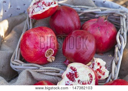 Closeup On Pomegranates