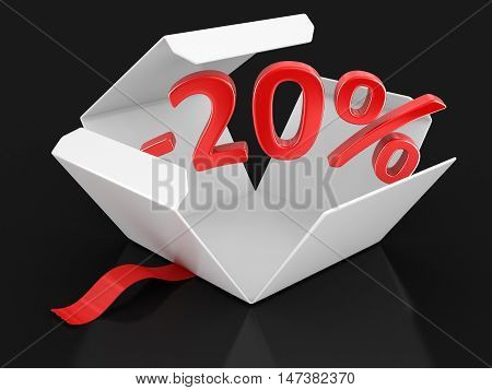 3D Illustration. Open package with -20%. Image with clipping path