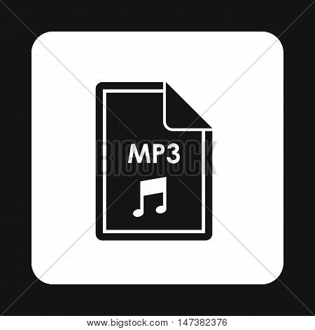 File MP3 icon in simple style isolated on white background. Document type symbol vector illustration