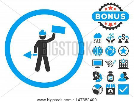 Builder With Shovel icon with bonus symbols. Vector illustration style is flat iconic bicolor symbols, blue and gray colors, white background.