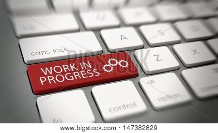 Work In Progress concept on a computer keyboard with text and three circles on a large red key with blur vignette for focus. 3d Rendering.