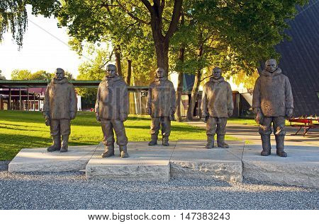 OSLO, NORWAY - AUGUST 27, 2016: The South Pole explorers: Roald Amundsen, Helmer Hanssen, Oscar Wisting, Olav Bjaaland and Sverre Hassel. The South Pole (Polar Explorers) Monument in Oslo.