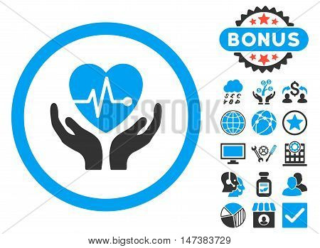Cardiology icon with bonus elements. Vector illustration style is flat iconic bicolor symbols, blue and gray colors, white background.