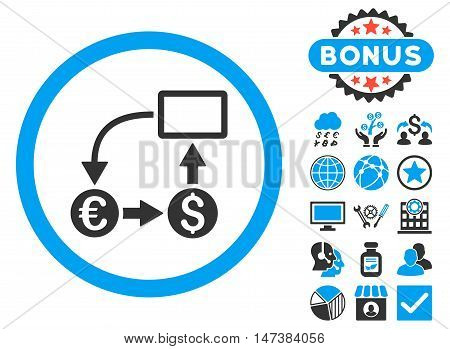 Cashflow Euro Exchange icon with bonus pictogram. Vector illustration style is flat iconic bicolor symbols, blue and gray colors, white background.