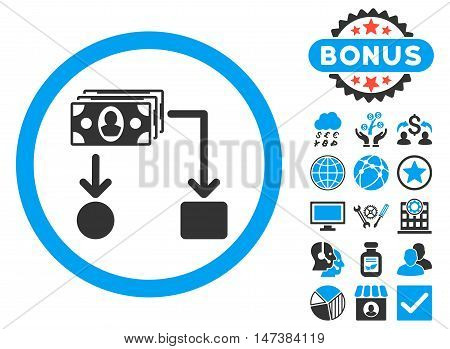 Cashflow icon with bonus pictogram. Vector illustration style is flat iconic bicolor symbols, blue and gray colors, white background.