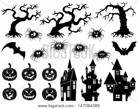 Set of different Halloween vector silhouettes and stencils with old dried trees laughing pumpkins flying bats amusing spiders and medieval castles