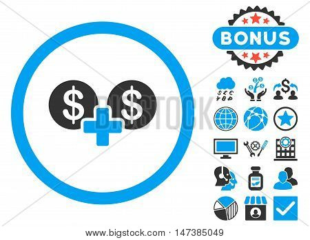 Coins Sum icon with bonus design elements. Vector illustration style is flat iconic bicolor symbols, blue and gray colors, white background.