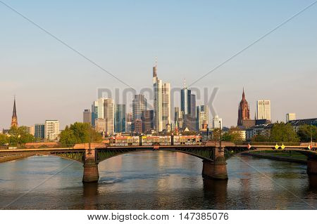 Tram with Frankfurt am Main skyline at morning in Frankfurt Germany.