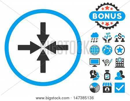 Collide Arrows icon with bonus pictures. Vector illustration style is flat iconic bicolor symbols, blue and gray colors, white background.
