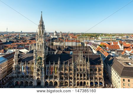 Aerial view on Marienplatz town hall and in Munich Germany