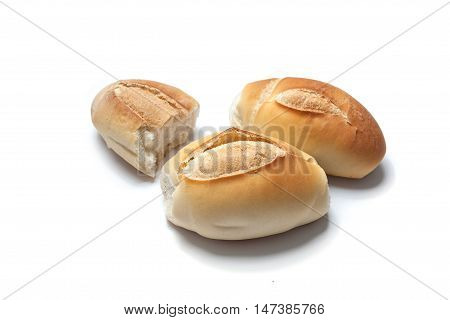 Three French Breads On White Background