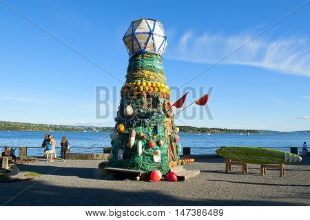 OSLO, NORWAY - AUGUST 27, 2016: The Art Lighthouse Installation at The Maritime Museum on the Bygdoy Peninsula, in Oslo.