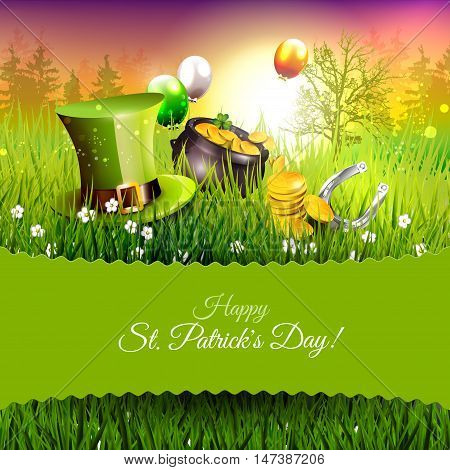Happy St. Patrick's Day - greeting card with hat pot and balloons in the grass