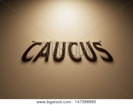 3D Rendering Of A Shadow Text That Reads Caucus