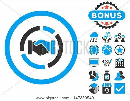 Acquisition Diagram icon with bonus. Glyph illustration style is flat iconic bicolor symbols, blue and gray colors, white background.
