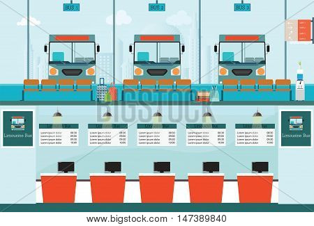 Bus terminal with bus limousine with counter service for bus ticket business travel transportation vector illustration.