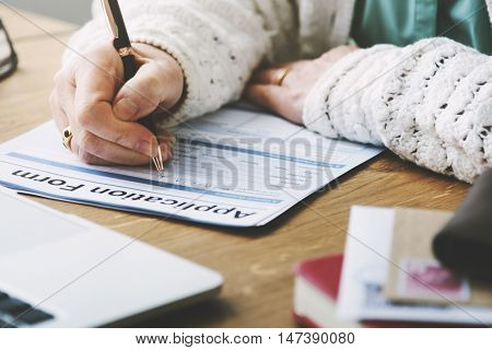 Application Form Retirement Pensioner Senior Concept