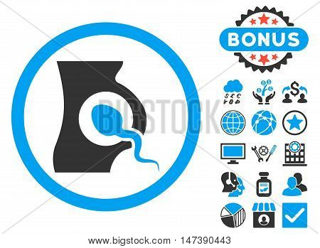 Artificial Insemination icon with bonus images. Glyph illustration style is flat iconic bicolor symbols, blue and gray colors, white background.