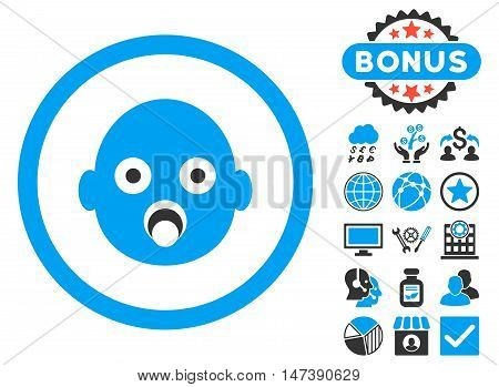 Baby Head icon with bonus images. Glyph illustration style is flat iconic bicolor symbols, blue and gray colors, white background.