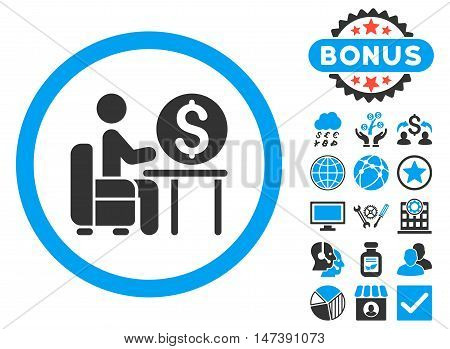 Banker Office icon with bonus design elements. Glyph illustration style is flat iconic bicolor symbols, blue and gray colors, white background.