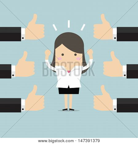 Businesswoman and many hands with thumbs up. Likes and positive feedback concept.