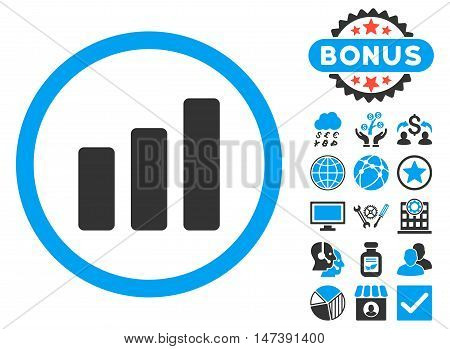 Bar Chart Increase icon with bonus symbols. Glyph illustration style is flat iconic bicolor symbols, blue and gray colors, white background.