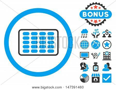 Blister icon with bonus pictures. Glyph illustration style is flat iconic bicolor symbols, blue and gray colors, white background.