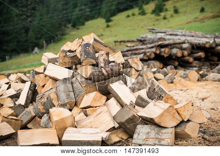 stacked pile of firewood  biomass, pile, germany