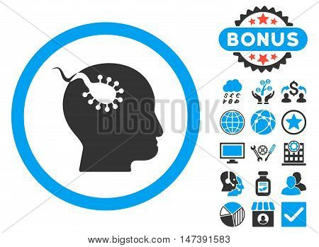 Brain Parasite icon with bonus images. Glyph illustration style is flat iconic bicolor symbols, blue and gray colors, white background.