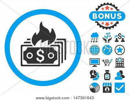 Burn Banknotes icon with bonus pictures. Glyph illustration style is flat iconic bicolor symbols, blue and gray colors, white background.