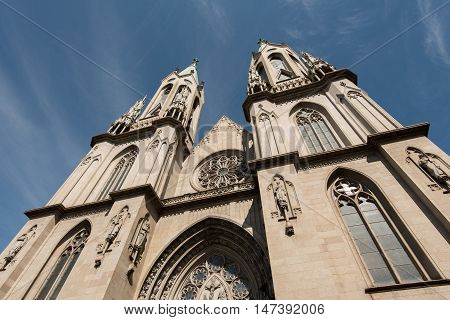 Facade of Se Cathedral in Sao Paulo City Center, Brazil