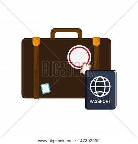 flat design suitcase and passport  icon vector illustration