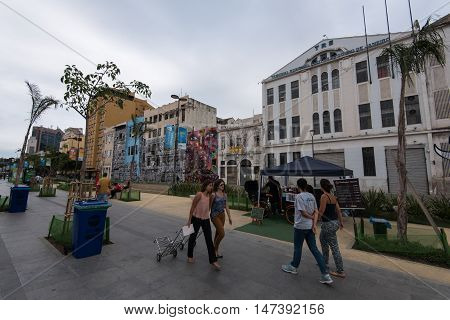 Rio de Janeiro, Brazil - August 31, 2016: Olympic Boulevard in the port area is the famous tourist and visitor spot during the Olympic and Paralympic Games.