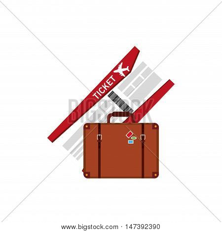 flat design boarding pass and suitcase  icon vector illustration
