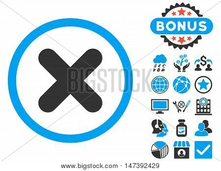 Cancel icon with bonus images. Glyph illustration style is flat iconic bicolor symbols, blue and gray colors, white background.