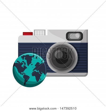flat design photographic camera and  earth globe icon vector illustration