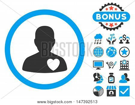 Cardiology Patient icon with bonus pictures. Glyph illustration style is flat iconic bicolor symbols, blue and gray colors, white background.