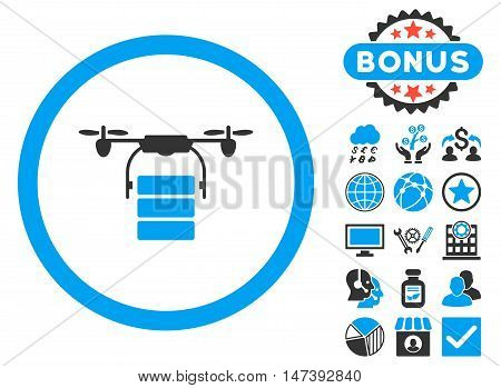 Cargo Drone icon with bonus symbols. Glyph illustration style is flat iconic bicolor symbols, blue and gray colors, white background.