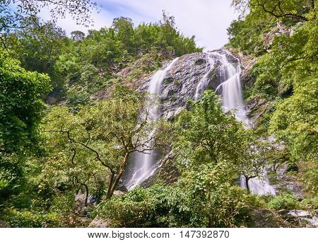 waterfall in the tropical rain forest. Khong Lan waterfall, Thailand